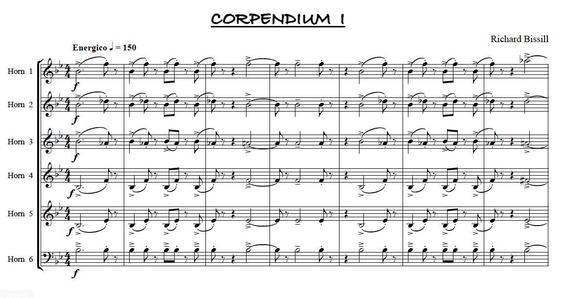 Corpendium 1, for 6 Horns