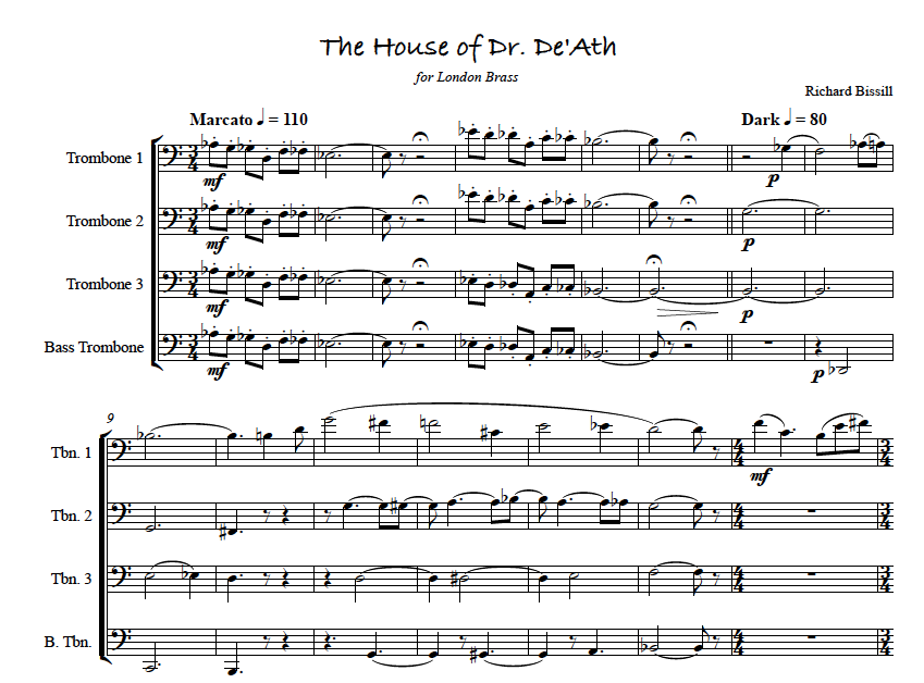 The House of Dr. De'ath, for Trombone Quartet