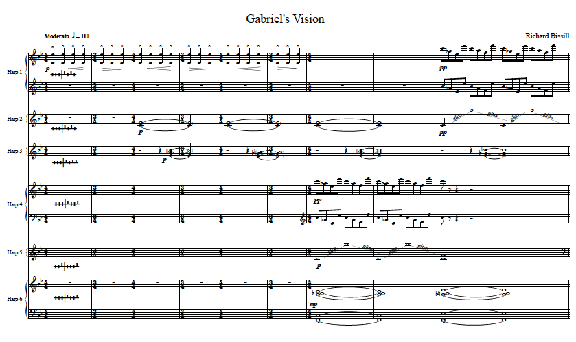 Gabriel's Vision, for 6 Harps and Solo Horn