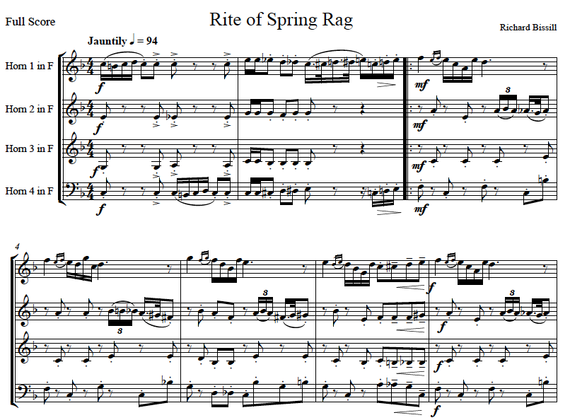 Rite of Spring Rag, for 4 Horns