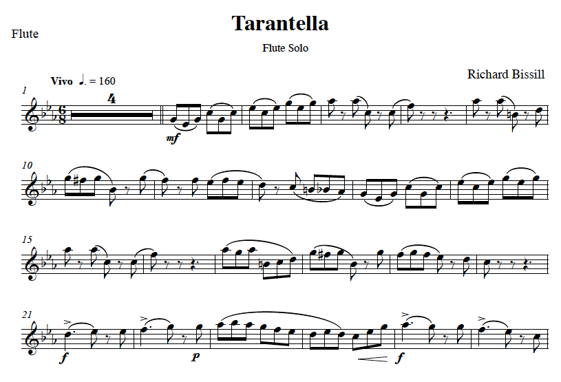 Tarantella, for Flute and Piano