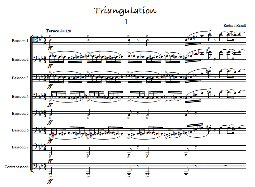 Triangulation, for 8 Bassoons, in 3 movements