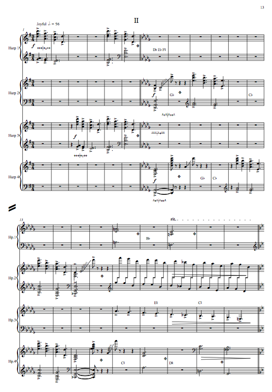 Three Dance Sketches, for 4 Harps
