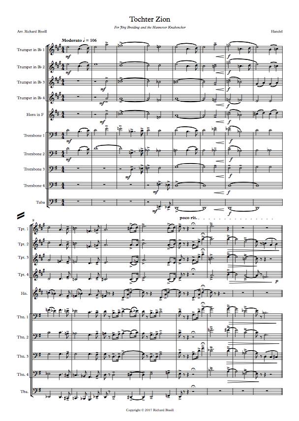 Tochter Zion for choir and ten brass